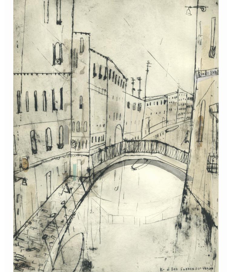 'Rio Di San Francesco      Venice'    Drypoint  &   Chine-Colle   30 x 40 cm