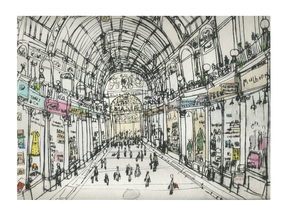 'Shopping in County Arcade'                  Drypoint & Chine-Colle       (DETAIL)