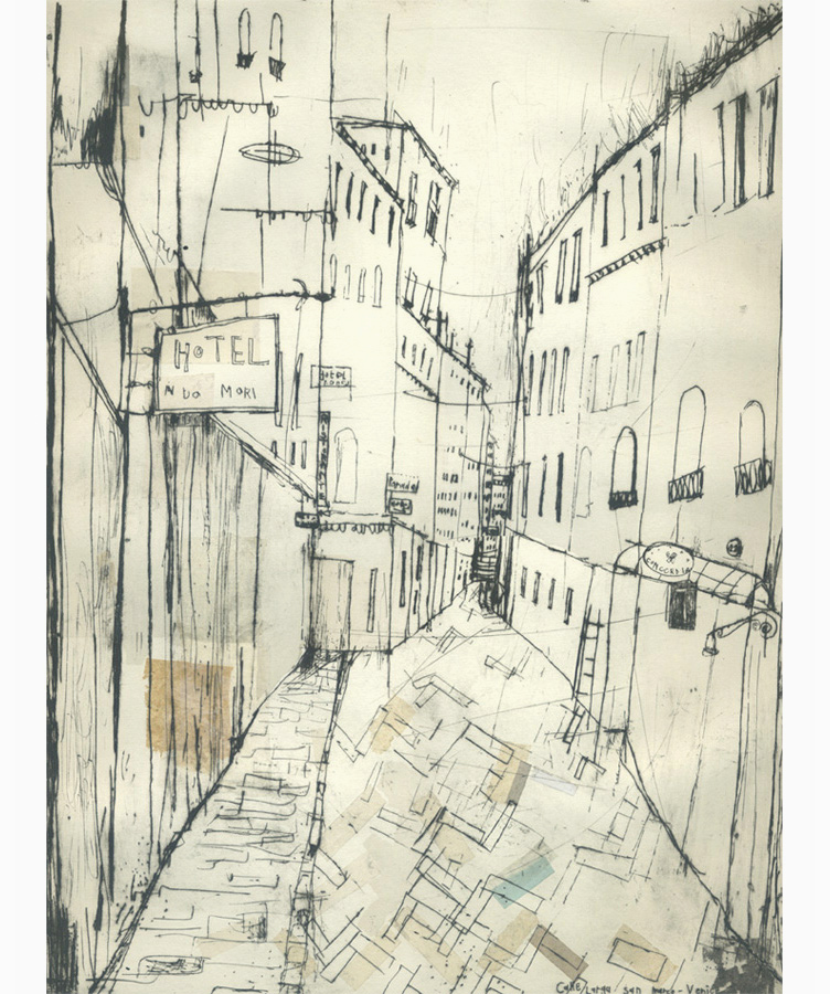 Hotel Ai Do Mori Venice  Drypoint & Chine-Colle 30 x 40 cm    Edition size 10