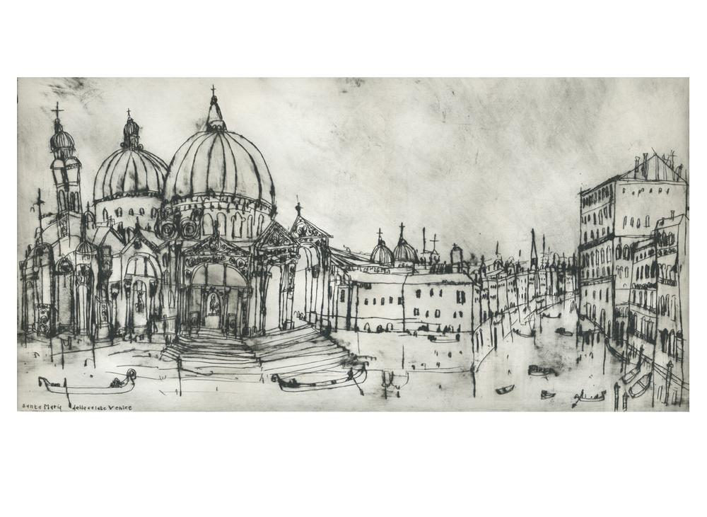 Santa Maria Della Salute Venice  Drypoint  30 x 59 cm Edition size 20