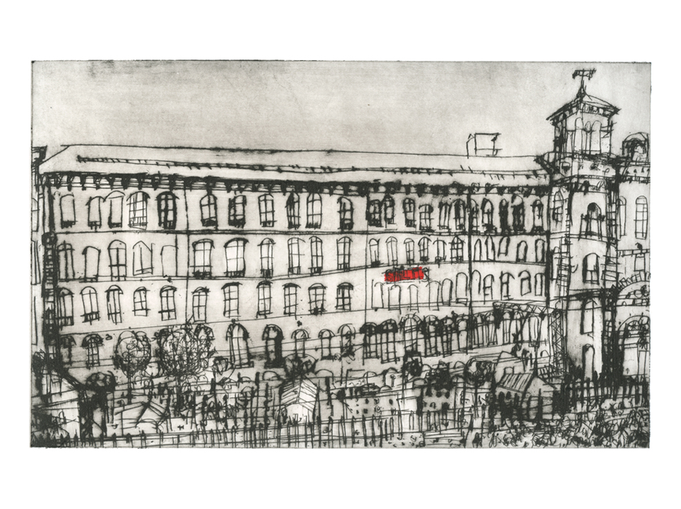 Salts Mill Saltaire  Drypoint & Chine-colle 16 x 28 cm     Edition size 20
