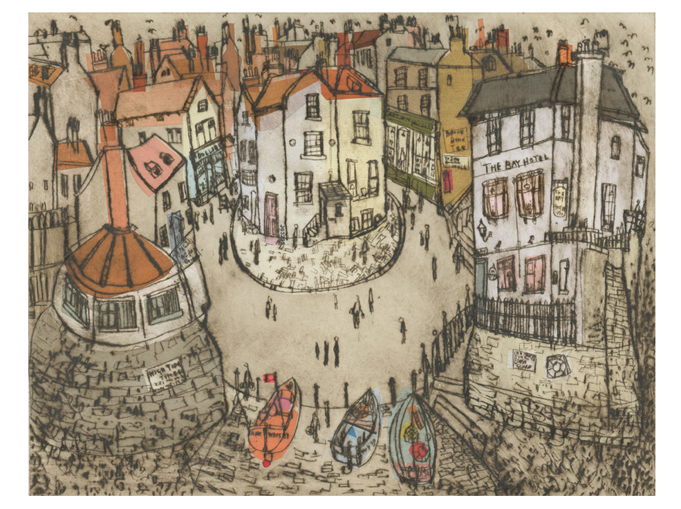 'Robin Hoods Bay'    Drypoint & Chine-Colle     41 x 31 cm  Edition size 15