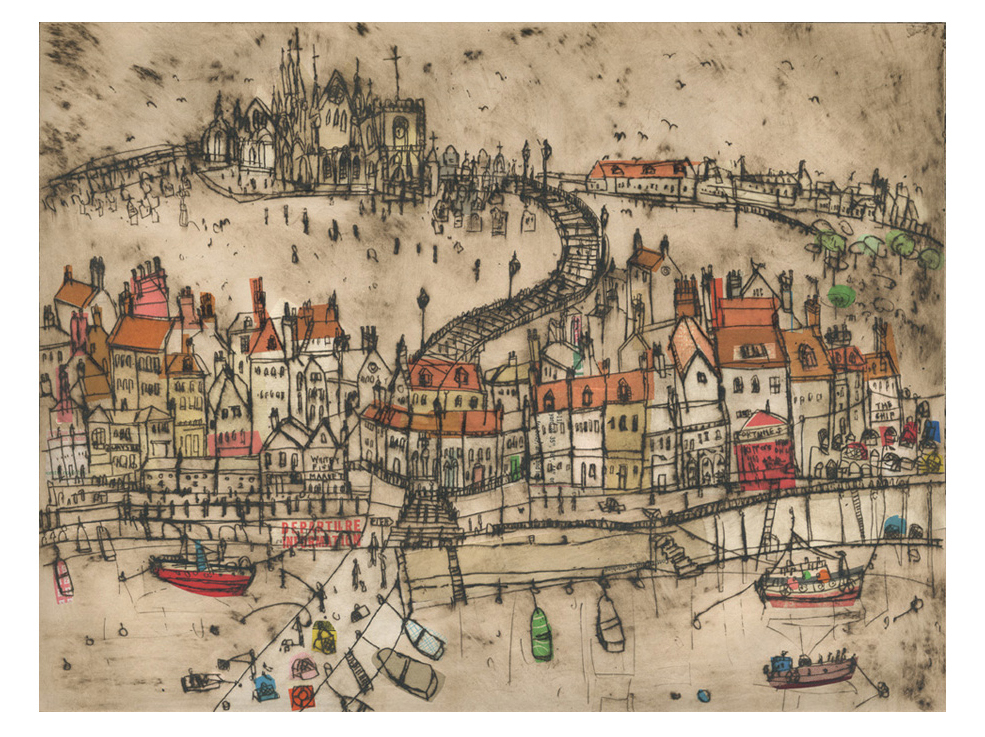 Whitby Harbour  Drypoint & Chine-Colle 41 x 31 cm    Edition size 15