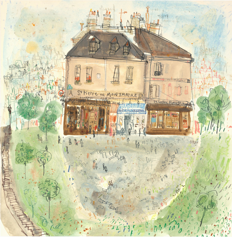 'St. Pierre De Montmartre Paris'        WATERCOLOUR & PENCIL        Image size   34 x 37 cm        S O L D