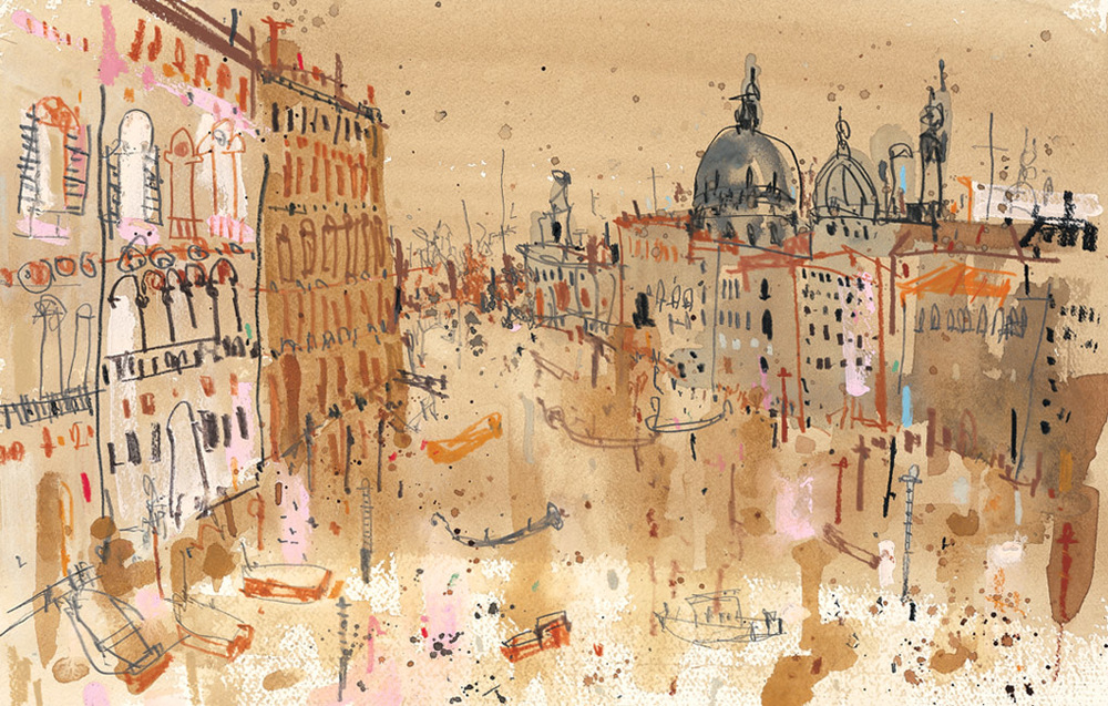 'Grand Canal Venice'         MIXED-MEDIA          Image size  38 x 25 cm      Framed size  54 x 41 cm      £395     framed in oak