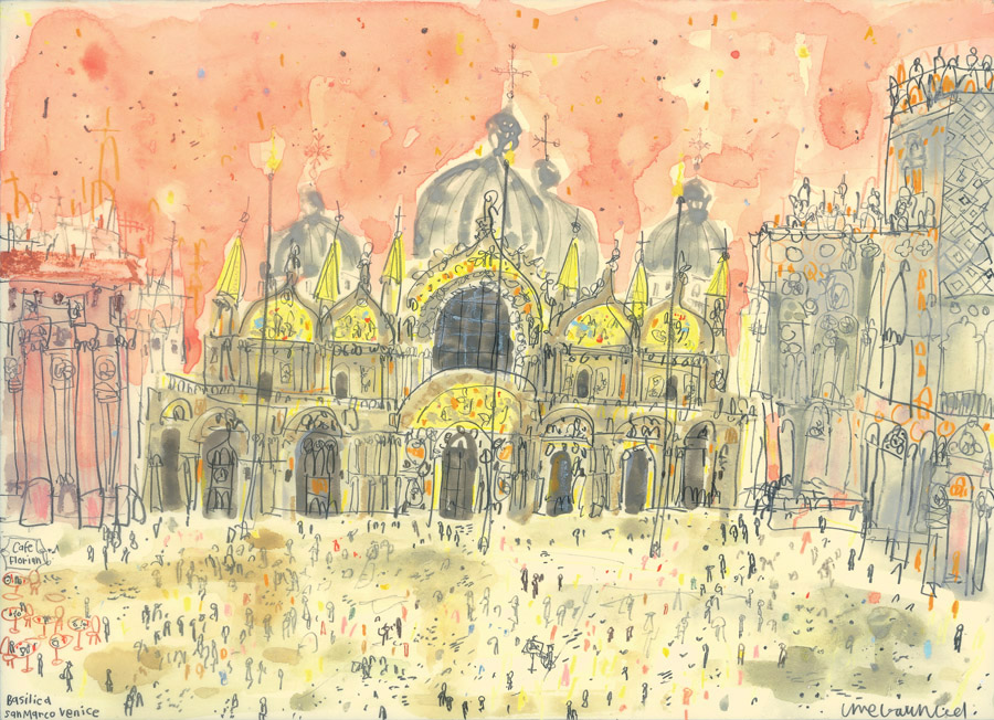 'Basilica San Marco, Venice'            WATERCOLOUR & PENCIL            Image size 32 x 23 cm         Framed size 48 x 39 cm            £325     framed in oak