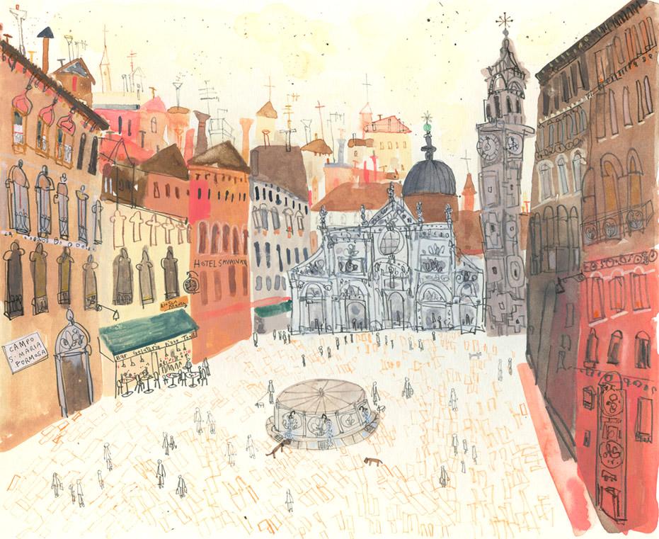 'Campo Santa Maria Formosa, Venice'       WATERCOLOUR & PENCIL      Image size 28 x 23 cm     Framed size 36 x 30 cm   £295