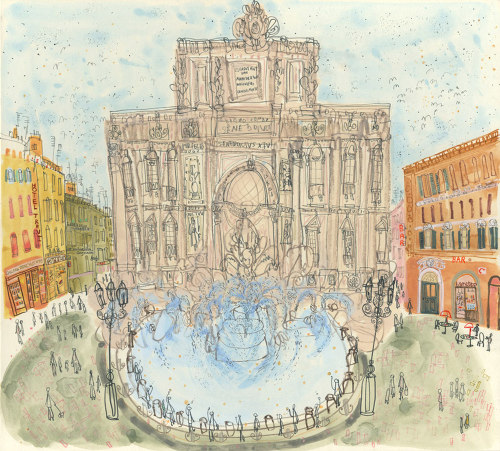 'Throwing Coins in Trevi Fountain Rome'            WATERCOLOUR & PENCIL            Image size 37 x 34 cm