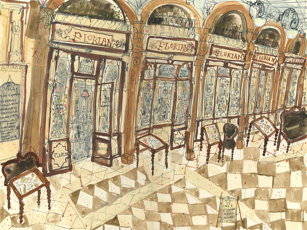 'Cafe Florian  San Marco, Venice       WATERCOLOUR & PENCIL       Image size  38 x 28 cm    Framed size 57 x 47 cm     £595   framed in oak