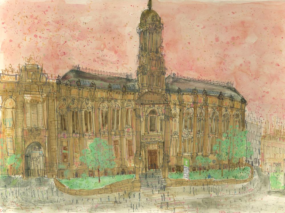 'The Old Building Bradford College'    w atercolour & pencil