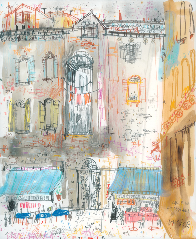 'Calle de la Pescaria Venice '     mixed-media