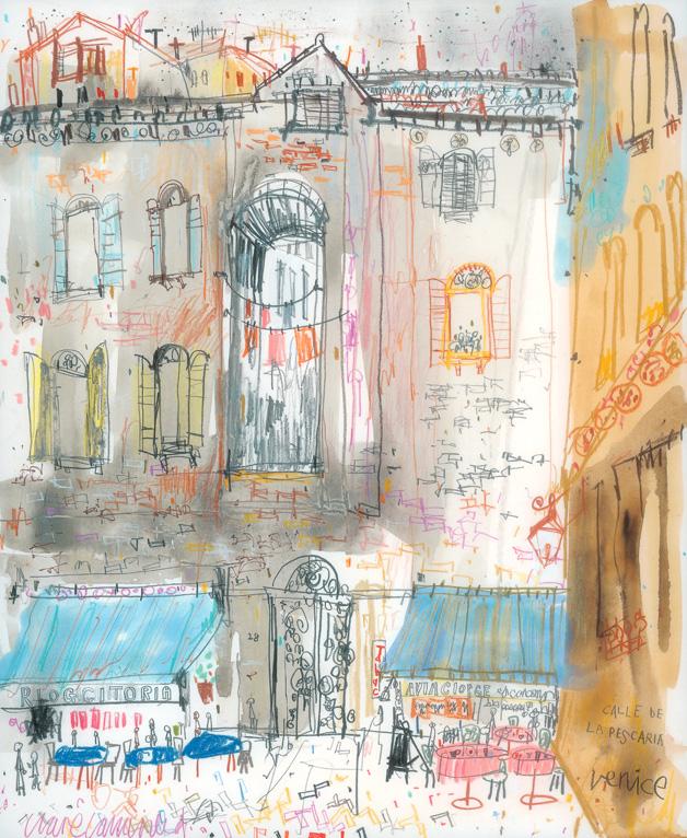 'Calle de la Pescaria Venice '   m ixed-media