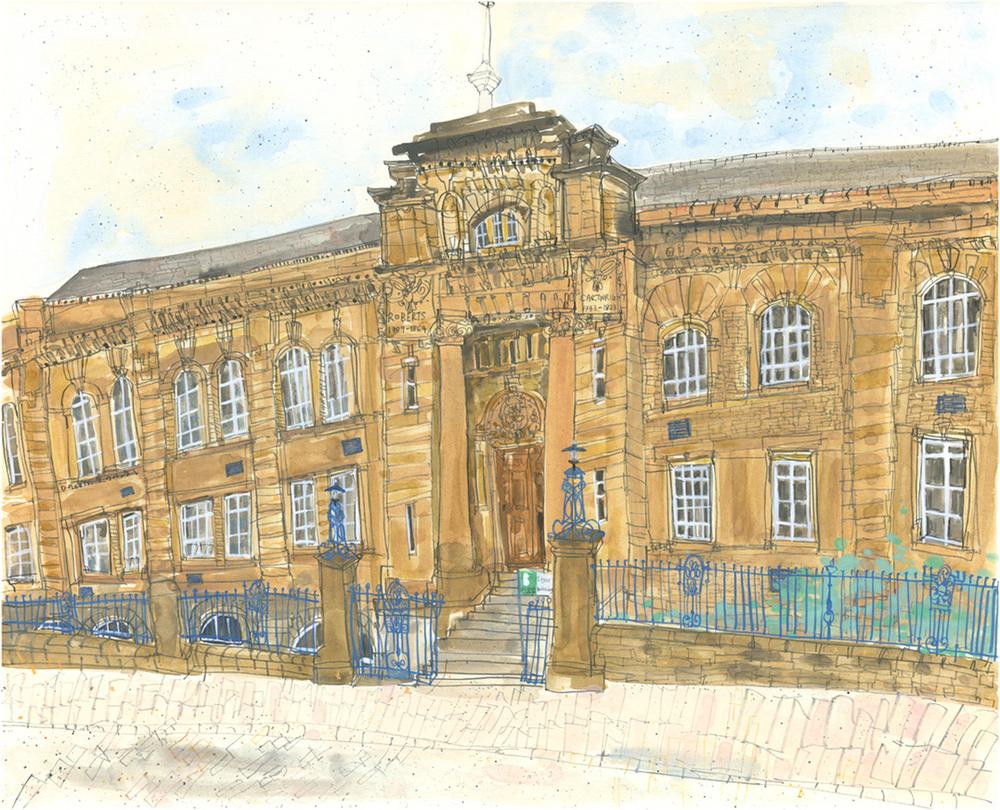 'Lister Building Bradford College '   w atercolour & pencil