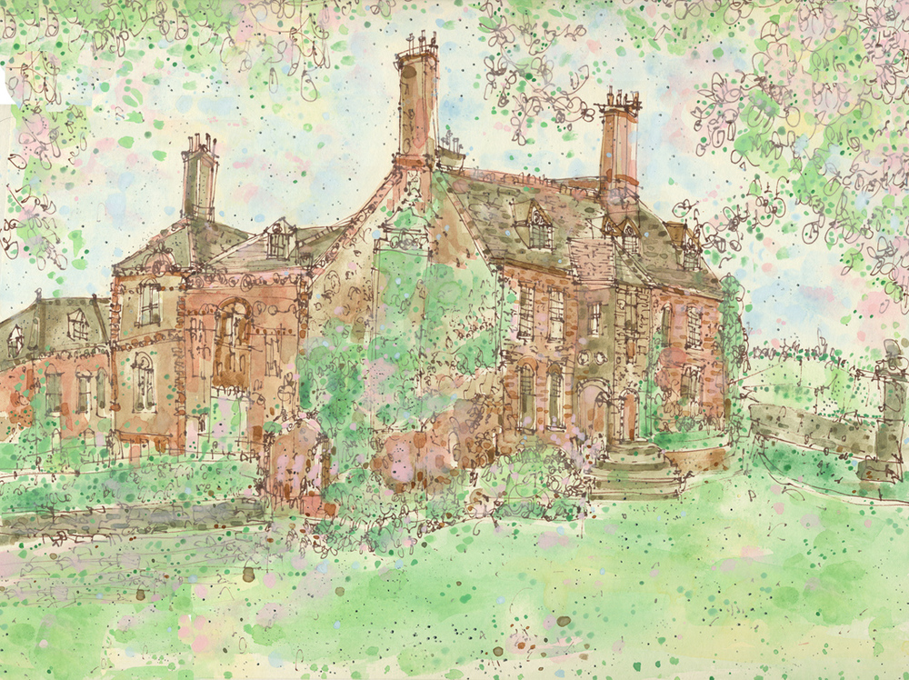'Llangoed Hall Country House Hotel, Wales'       pen & watercolour