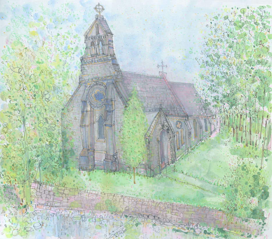 'Church of St. Mary's & St. John's, Hardraw, North Yorkshire'      pencil & watercolour