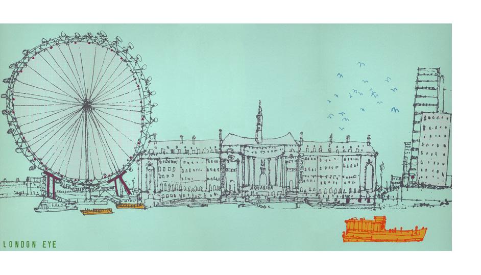 'The London Eye'  Giclee print 44 x 22 cm Edition size 195  £135