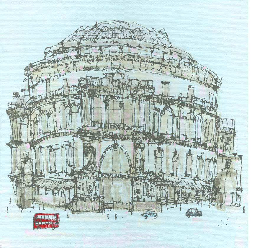 'Royal Albert Hall & London Red Bus'  Giclee print 42 x 42 cm Edition size 195  £150