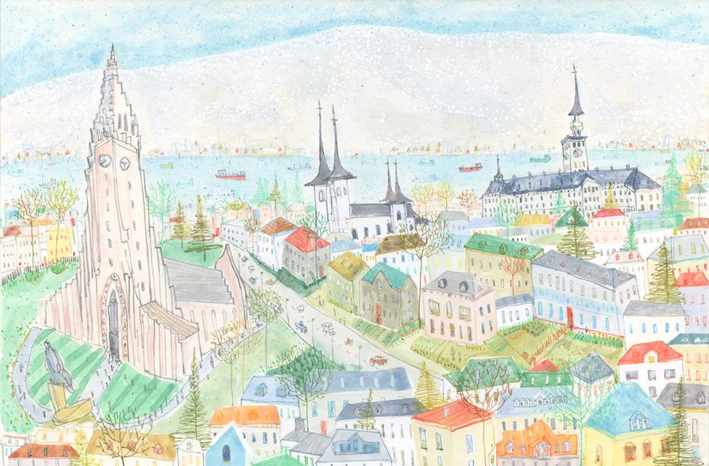 Reykjavik  watercolour & pencil   Framed size 62 x 47 cm   £450
