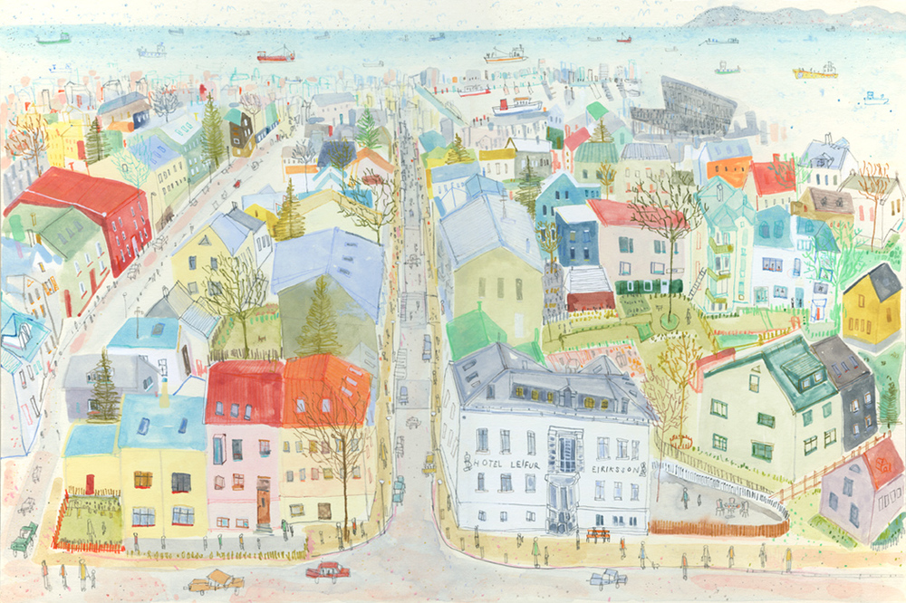 View from Reykjavik Cathedral      watercolour & pencil      Framed size 62 x 47 cm     £450