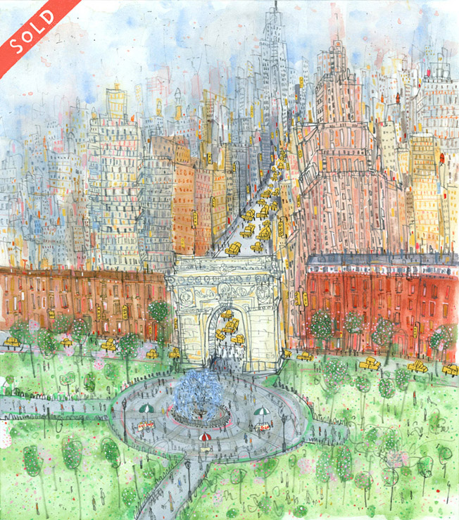 'Washington Square Park New York '          WATERCOLOUR & PENCIL                                                                 Image size   36 x 40 cm     Framed size  52 x 56 cm      £425    framed in oak