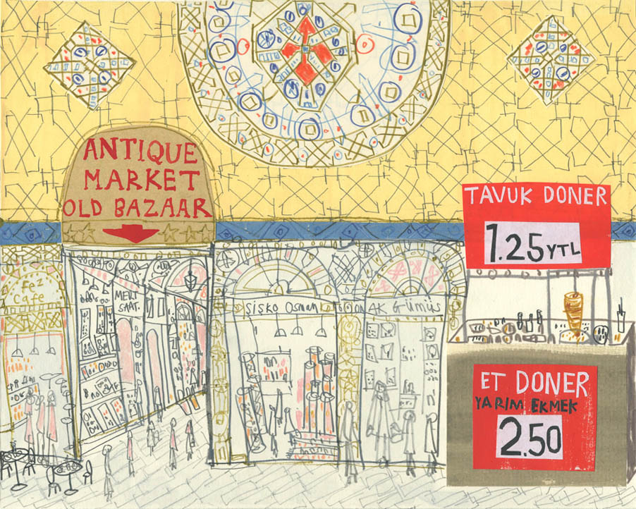 'The Grand Bazaar, Istanbul'         WATERCOLOUR, PENCIL & COLLAGE         Image size 25 x 20 cm        Framed size 39 x 35 cm       £295    framed in oak