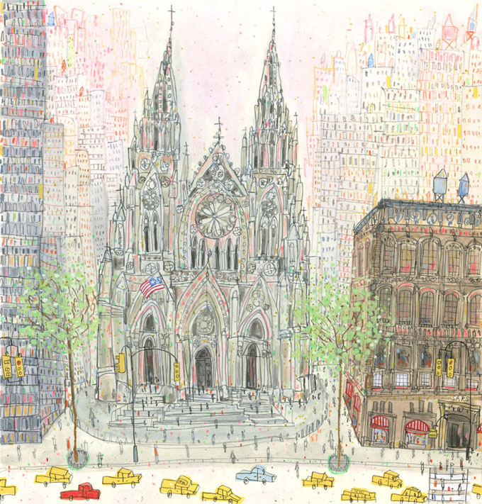'St. Patrick's Cathedral New York '          WATERCOLOUR & PENCIL                                                                   Image size  29 x 31 cm           £365  un  framed
