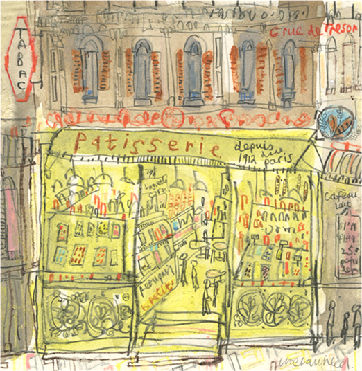 'Patisserie Paris'     original mixed-media    Image size 13 x 13 cm                            Framed size 29 x 30 cm    £195 Framed in oak  (or £175 unframed)