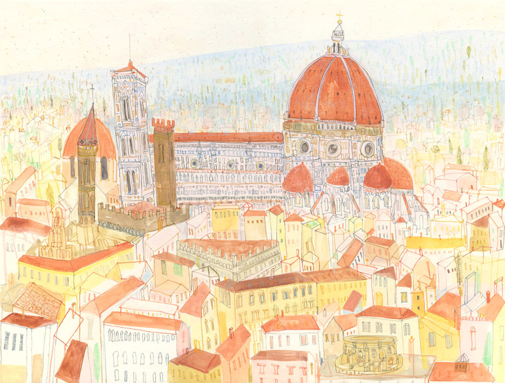 'Duomo Florence'            WATERCOLOUR & PENCIL            Image size 38 x 29 cm         Framed size 57 x 48 cm       £395     framed in oak