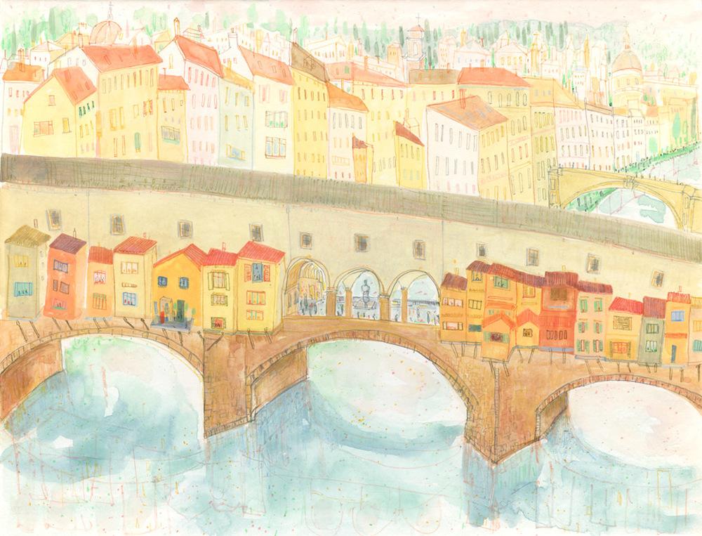 'Ponte Vecchio Florence'       WATERCOLOUR & PENCIL      Image size 38 x 29 cm   S O L D
