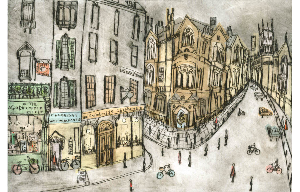 'Shops & Corpus Christi Clock Cambridge'  Giclee print Image size 41.5 x 28 cm Edition size 195   £145