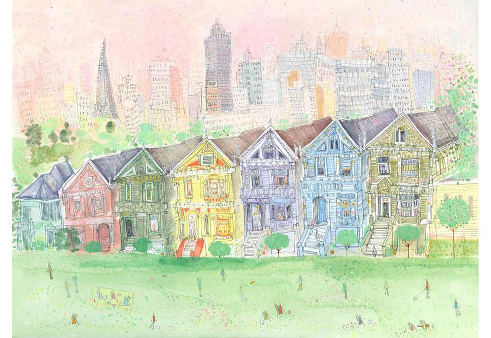 'Alamo Square, San Francisco'  Giclee print 50 x 37.5 cm Edition size 195 £160