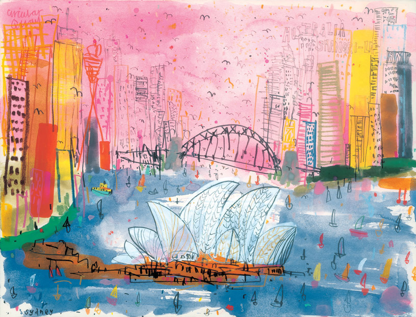 'Sydney Harbour'      Giclee print Image size 39 x 30 cm Edition size 195    £140 (Also available 28 x 21 cm  £85)