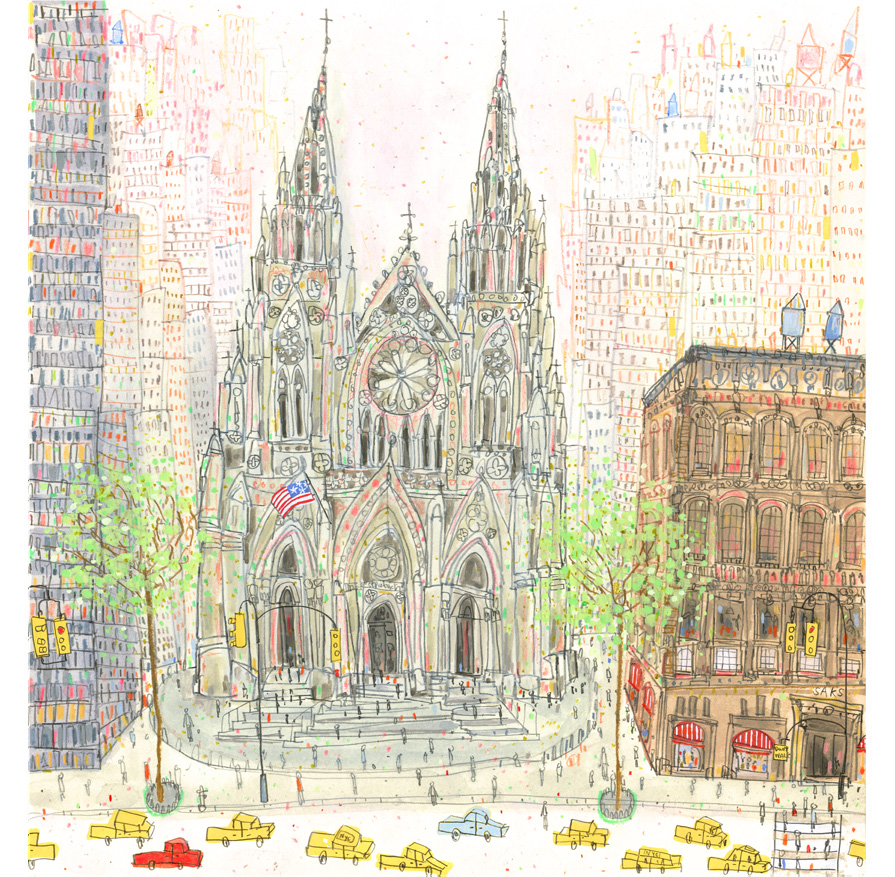 'St Patrick's Cathedral New York'  Giclee print   Image size 32 x 33 cm Edition size 195   £140