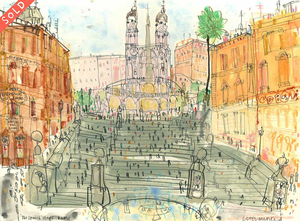 'The Spanish Steps Rome'            WATERCOLOUR & PENCIL            Image size 31 x 23 cm         Framed size 49 x 42 cm