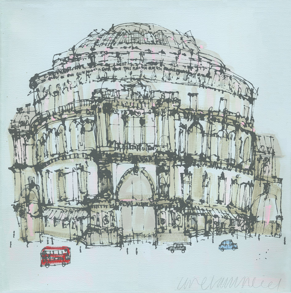 'Royal Albert Hall & London Bus'             ACRYLIC ON CANVAS / SCREENPRINT             Image size  30 x 30 cm, canvas depth 4cm      £275   STRETCHED CANVAS