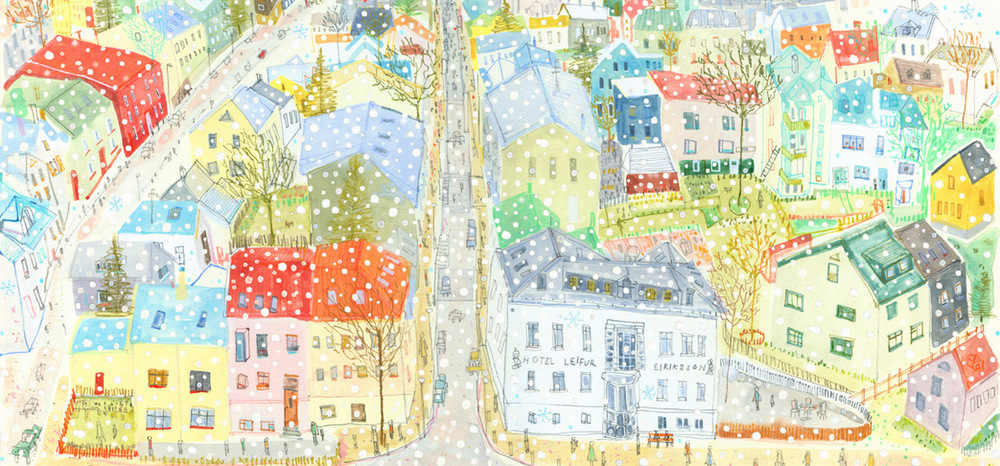 Snowing in Reykjavik, Iceland       Limited edition giclee print      Image size  43.5 x 20 cm     £120