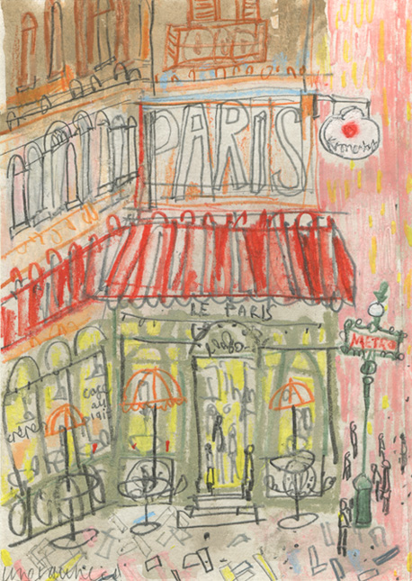 'Parisian Cafe'   Original watercolour & pencil  Image size 11 x 15.5 cm                            Framed size 29 x 33 cm    £150 Framed in oak