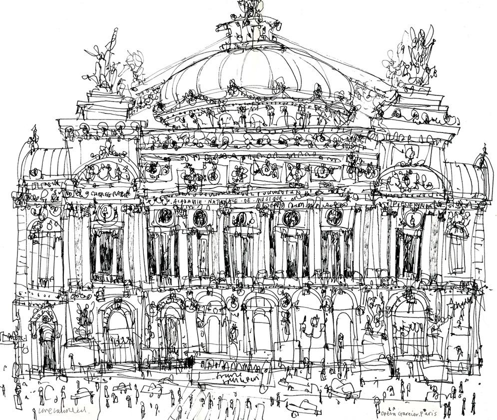 PARIS OPERA HOUSE  -  black pen drawing on white paper  Image size 35 x 30 cm    £165