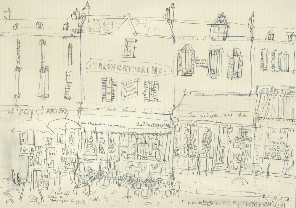 MAISON CATHERINE PARIS   -   pencil drawing on cream paper    Image size  42 x 29.5 cm   mounted size 57 x 44.3 cm        £100