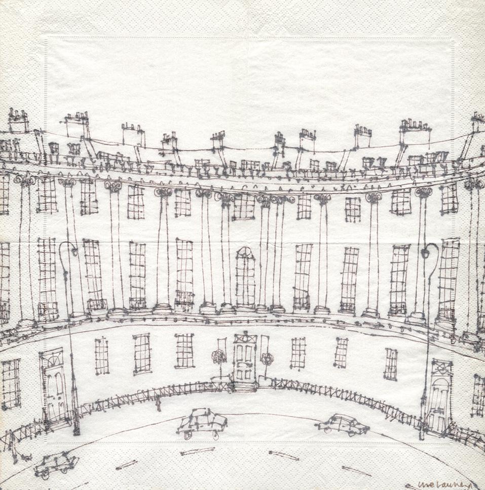 ROYAL CRESCENT BATH  -  brown pen drawing on serviette   Image size 31.5 x 31.5 cm  mounted size 44.3 x 44.3cm    £150