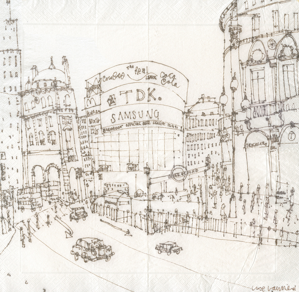PICCADILLY CIRCUS LONDON   -   brown pen drawing on serviette      Image size  31 x 31 cm     mounted size 44 x 44cm        £175