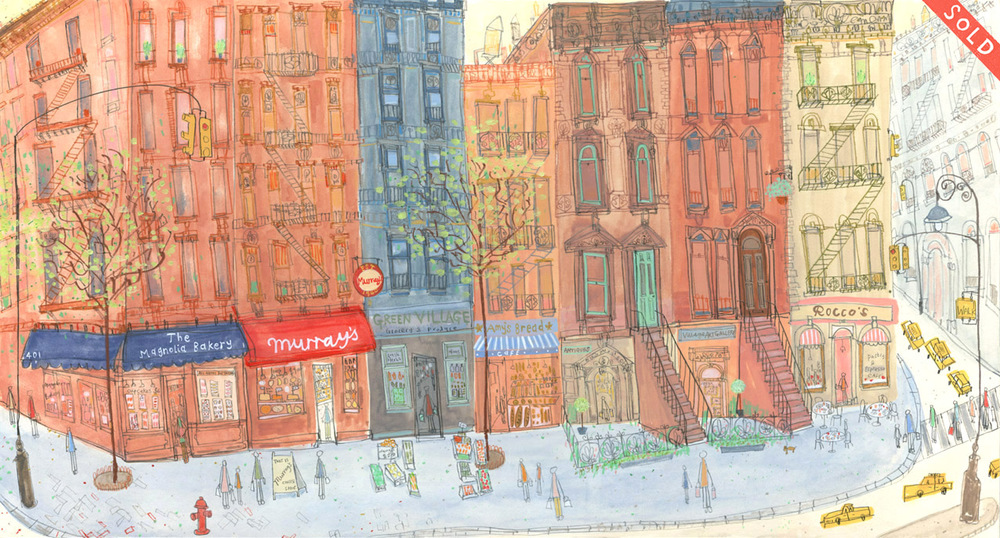 'Greenwich Village Shop Fronts New York '       mixed-media      Image size  56 x 29 cm       Framed size  74 x 47cm       £495  framed in oak