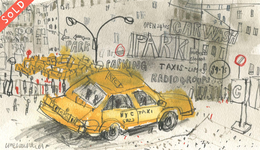 'New York Taxi Carwash '          WATERCOLOUR & PENCIL