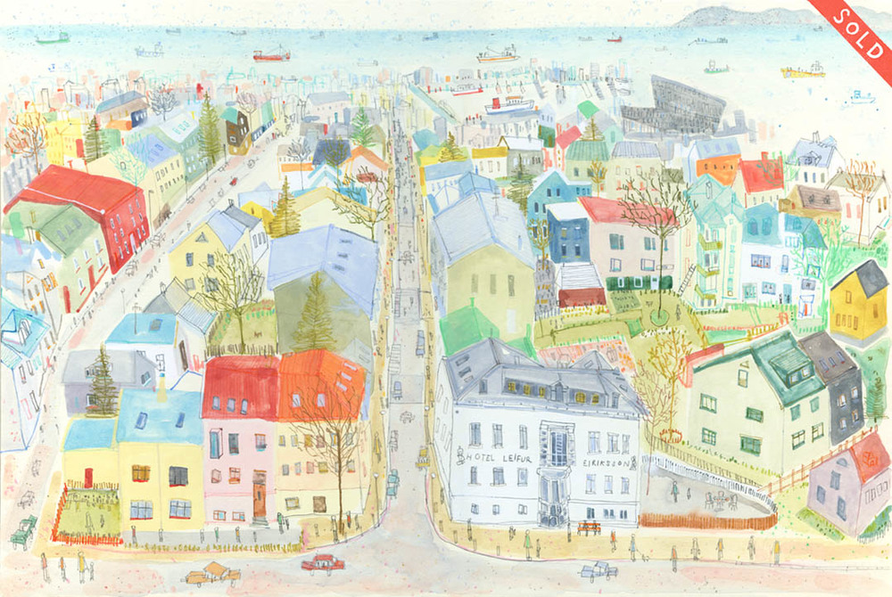 'View from Reykjavik Cathedral'           WATERCOLOUR & PENCIL          Image size 44 x 29 cm         Framed size 62 x 47 cm      £450