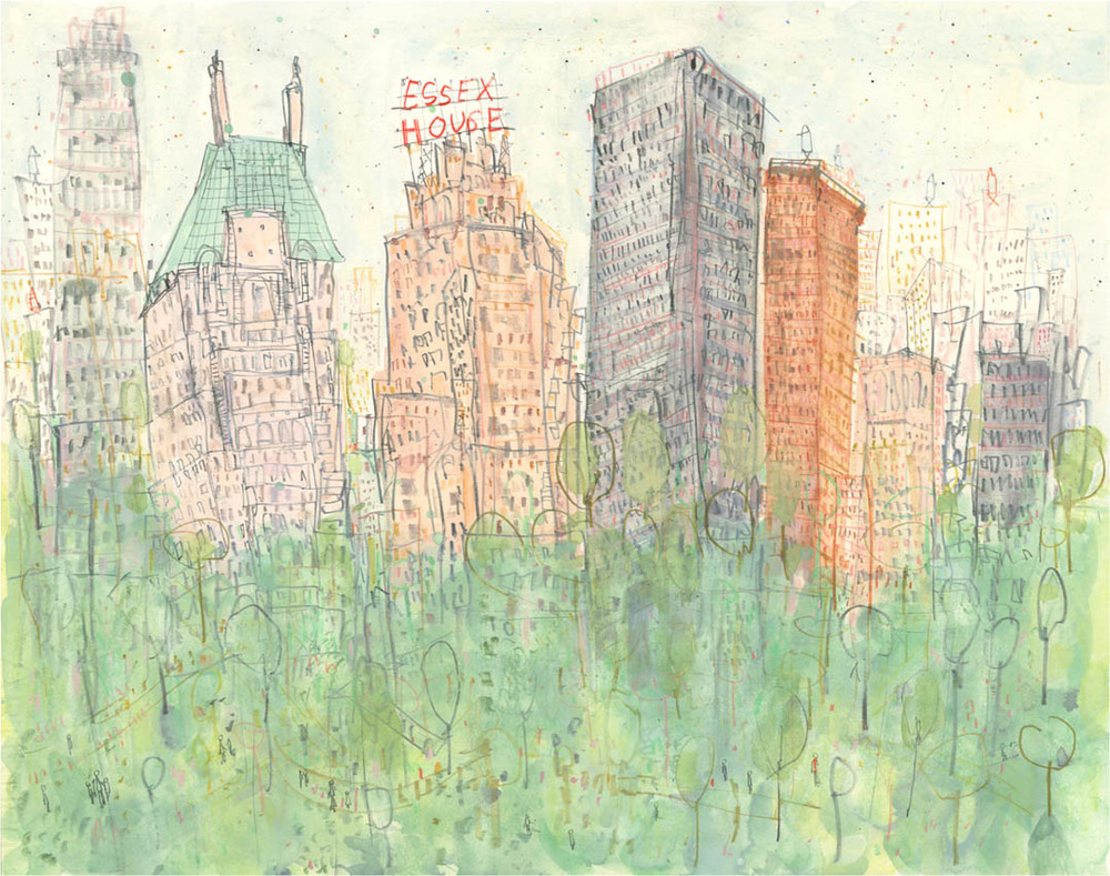 'Essex House, Central Park  New York '       mixed-media      Image size  41 x 32 cm          £300  unframed