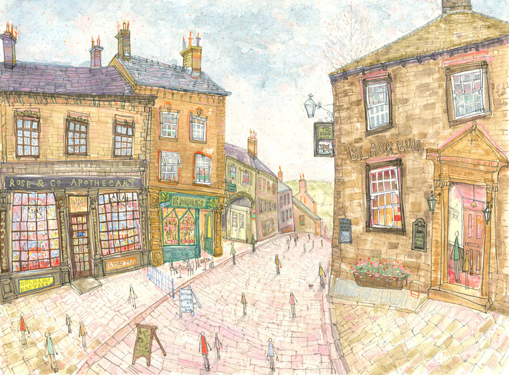 'Top of Main Street Haworth'  Giclee print   40 x 30 cm Edition size 195    £140
