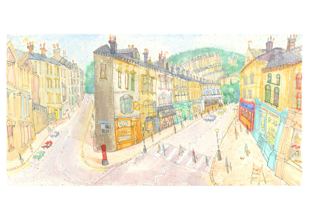 'Market Street & Hangingroyd Road Hebden Bridge'  Giclee print 47 x 24 cm Edition size 150  £140