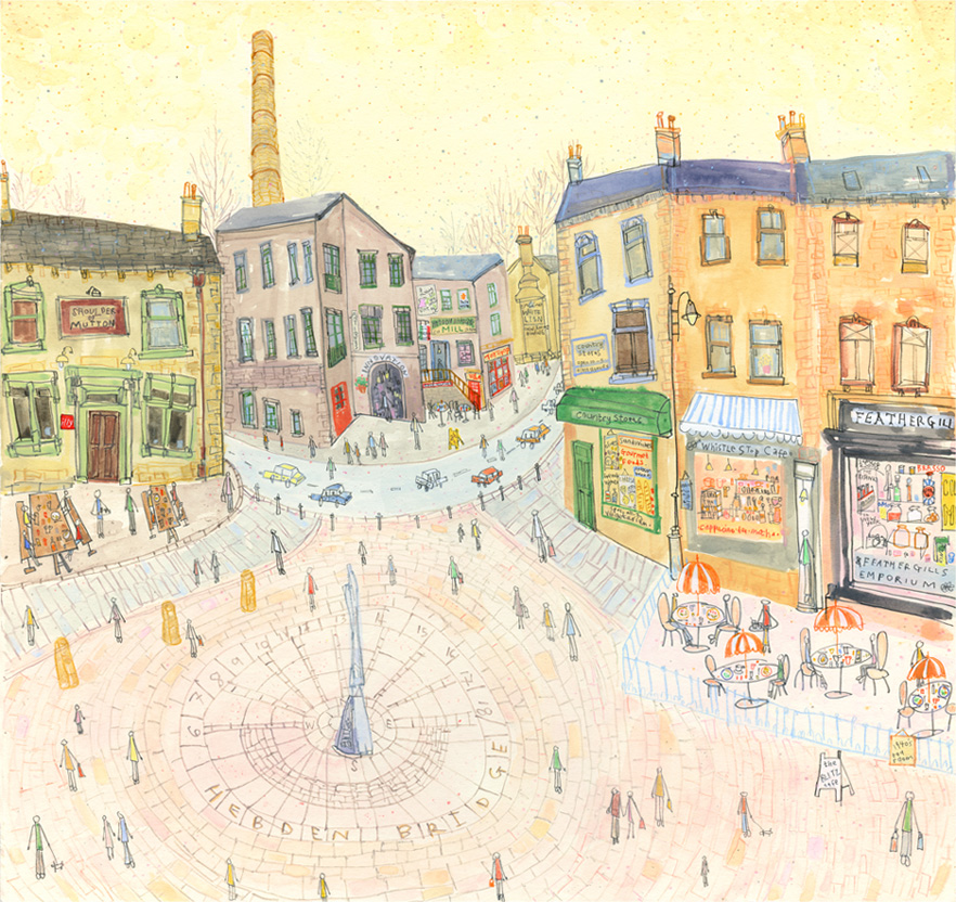 'St George's Square Hebden Bridge'     WATERCOLOUR & PENCIL   Image size 44 x 41.5 cm Framed size 62 x 59 cm    S O L D