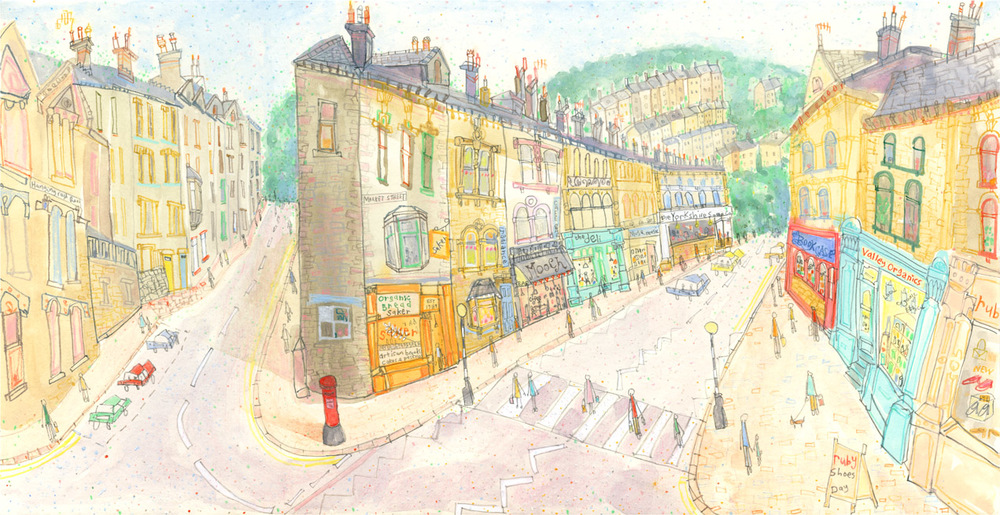 'Market Street & Hangingroyd Road, Hebden'        WATERCOLOUR & PENCIL        Image size 45 x 23 cm      Framed size 63 x 41 cm       £495    framed in oak