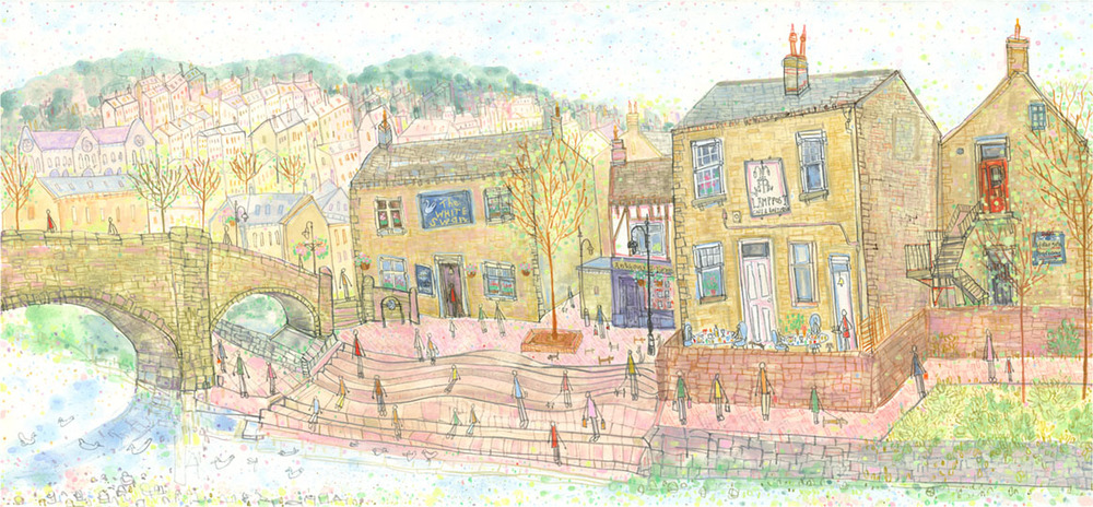 'View from Old Gate Hebden Bridge'             MIXED-MEDIA               Image size  59 x 25 cm           Framed size  77 x 43 cm           £595    framed in oak